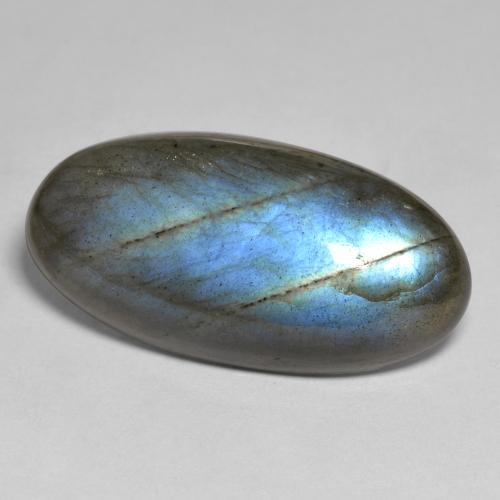 Gray Blue Sheen Labradorite Gem - 30.6ct Oval Cabochon (ID: 493550)