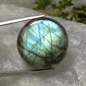 Blue-Sheen Gray Labradorite Gem - 24ct Round Cabochon (ID: 493952)