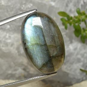 Blue-Sheen Gray Labradorite Gem - 20.2ct Oval Cabochon (ID: 494388)