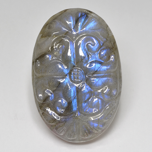 Blue-Sheen Gray Labradorite Gem - 35.5ct Carved Oval (ID: 501453)