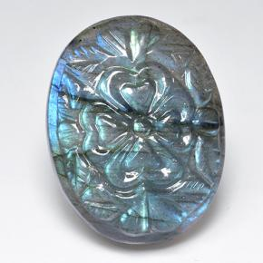 Blue-Sheen Gray Labradorite Gem - 38.3ct Carved Oval (ID: 501466)