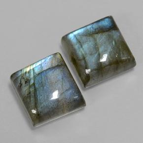 Blue-Sheen Gray Labradorite Gem - 6ct Square Cabochon (ID: 501842)