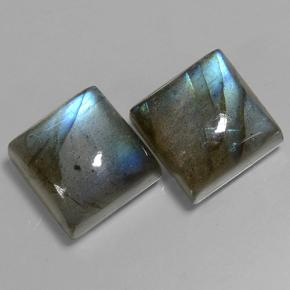 Blue-Sheen Gray Labradorite Gem - 7ct Square Cabochon (ID: 501844)