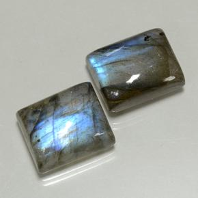 Blue-Sheen Gray Labradorite Gem - 5.9ct Baguette Cabochon (ID: 502927)