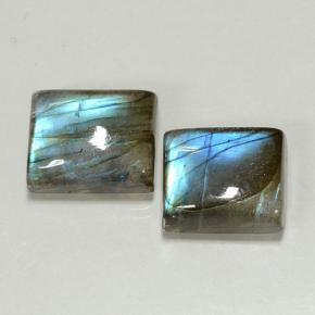 Blue-Sheen Gray Labradorite Gem - 5.4ct Baguette Cabochon (ID: 502929)