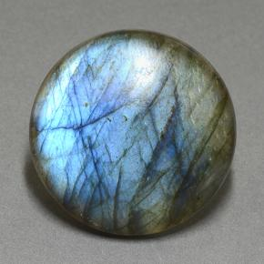 Blue-Sheen Gray Labradorite Gem - 33.3ct Round Cabochon (ID: 505195)