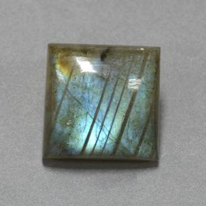 Blue-Sheen Gray Labradorite Gem - 19.2ct Square Cabochon (ID: 505263)