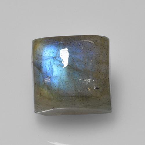 Blue-Sheen Gray Labradorite Gem - 4.4ct Square Cabochon (ID: 505700)