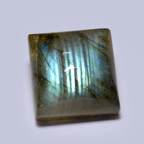 Blue-Sheen Gray Labradorite Gem - 7.6ct Square Cabochon (ID: 512871)