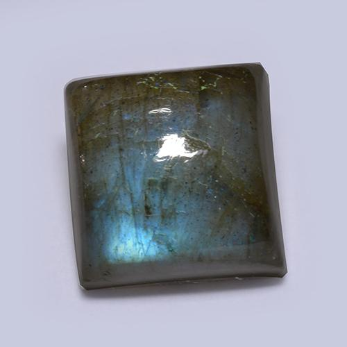 Blue-Sheen Gray Labradorite Gem - 7.5ct Square Cabochon (ID: 512875)