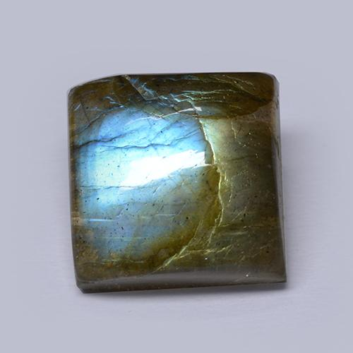 Blue-Sheen Gray Labradorite Gem - 5.4ct Square Cabochon (ID: 512880)