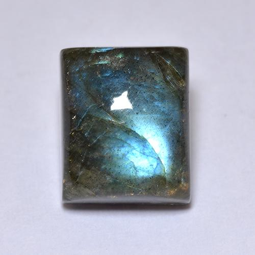 Blue-Sheen Gray Labradorite Gem - 6.9ct Baguette Cabochon (ID: 512952)