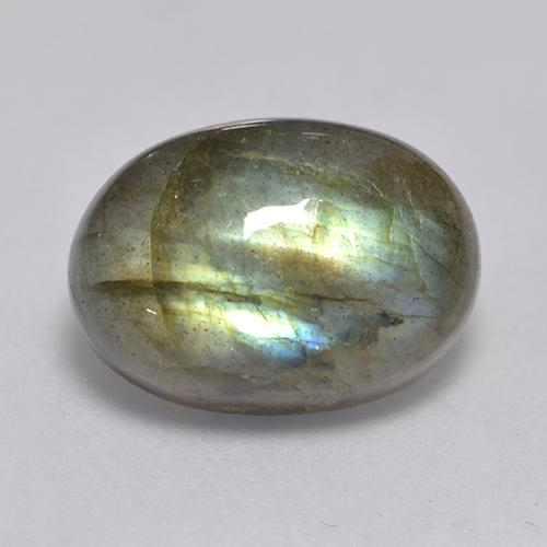 Blue-Sheen Gray Labradorite Gem - 7.4ct Oval Cabochon (ID: 526600)
