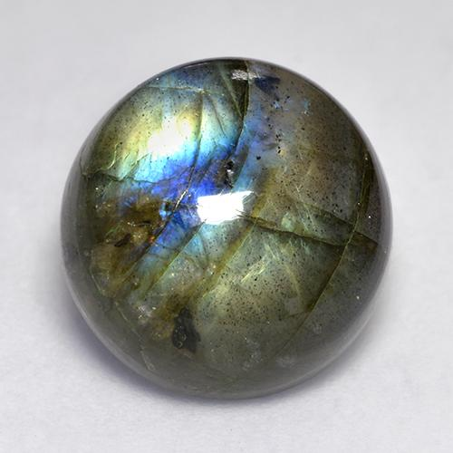 Blue-Sheen Gray Labradorite Gem - 10.4ct Round Cabochon (ID: 526601)