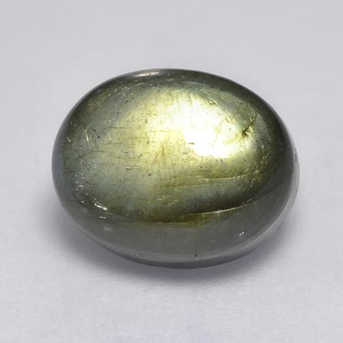 Blue-Sheen Gray Labradorite Gem - 4.6ct Oval Cabochon (ID: 526602)