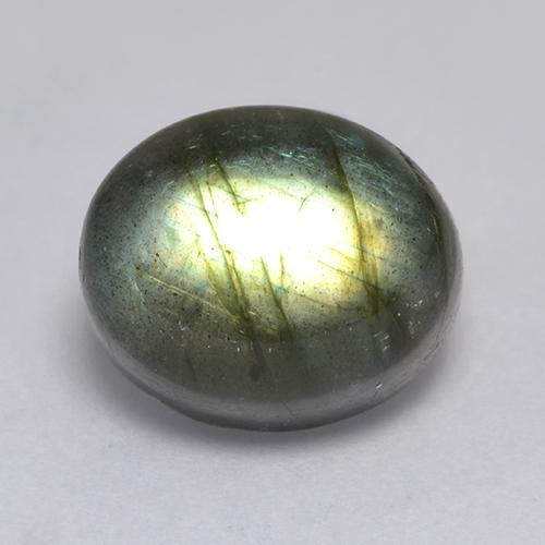 Blue-Sheen Gray Labradorite Gem - 7.4ct Oval Cabochon (ID: 526603)