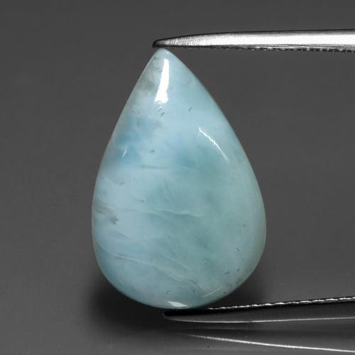 Green Blue Larimar Gem - 6ct Pear Cabochon (ID: 391547)