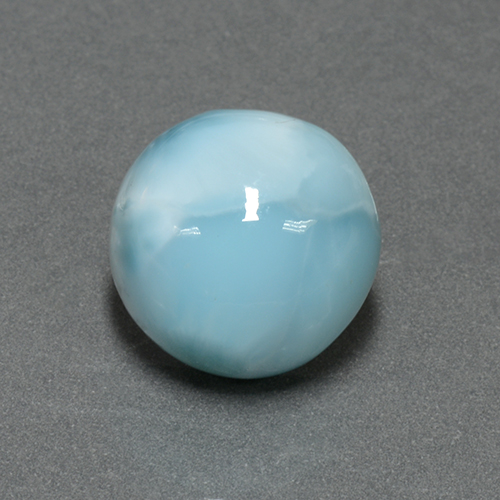 Medium Blue Larimar Gema - 6.6ct Cabujón Redondo (ID: 505428)