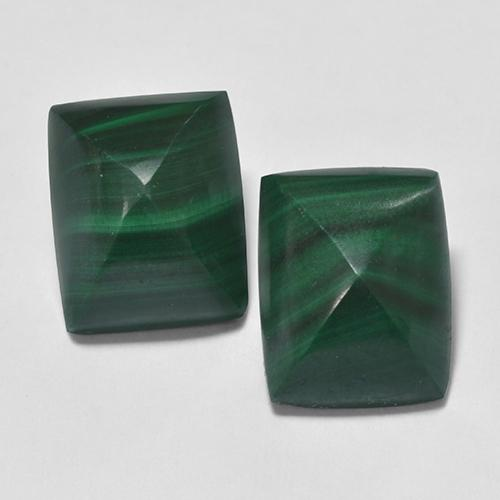 Green Malachite Gem - 4.7ct Baguette Sugarloaf Cabochon (ID: 323236)