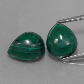 Multicolor Green Malachite Gem - 7.4ct Pear Cabochon (ID: 334750)