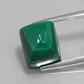 Multicolor Green Malachite Gem - 12.5ct Baguette Sugarloaf Cabochon (ID: 345030)