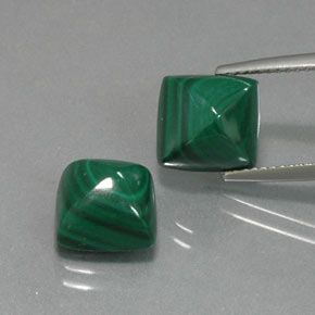 Multicolor Green Malachite Gem - 5.6ct Square Cabochon (ID: 371113)