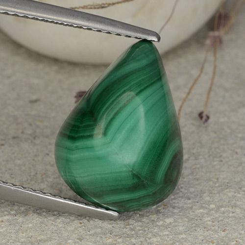 Multicolor Green Malachite Gem - 12.7ct Pear Cabochon (ID: 482282)