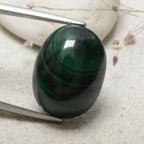 Dark Green Malachite Gem - 21.7ct Oval Cabochon (ID: 482285)