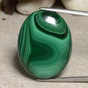 Multicolor Green Malachite Gem - 52.1ct Oval Cabochon (ID: 483992)