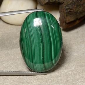 Dark Green Malachite Gem - 43.3ct Oval Cabochon (ID: 484067)