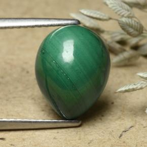Multicolor Green Malachite Gem - 6.1ct Pear Cabochon (ID: 493341)
