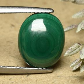 Multicolor Green Malachite Gem - 6.1ct Oval Cabochon (ID: 493448)