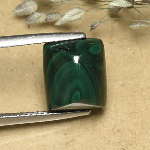 Multicolor Green Malachite Gem - 9.7ct Baguette Sugarloaf Cabochon (ID: 493970)