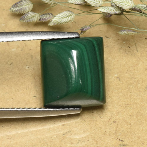 Multicolor Green Malachite Gem - 8.7ct Baguette Sugarloaf Cabochon (ID: 493971)