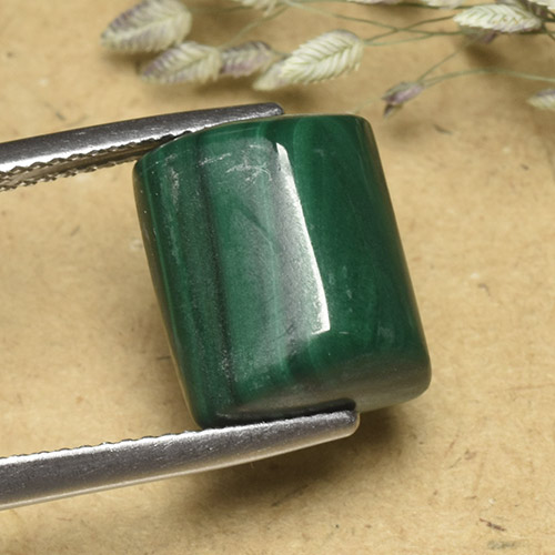 Multicolor Green Malachite Gem - 12.8ct Baguette Sugarloaf Cabochon (ID: 493974)