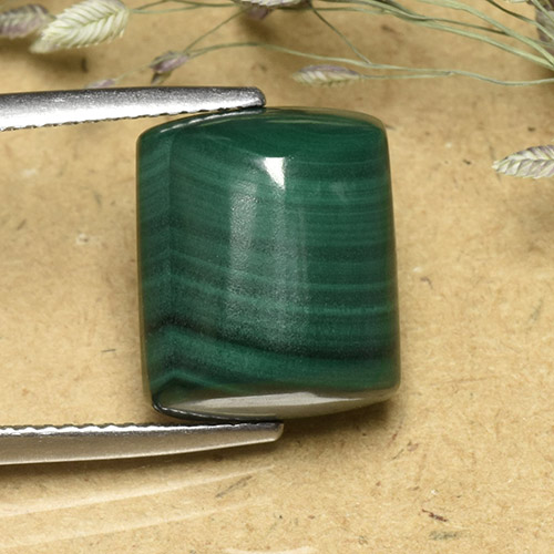 Multicolor Green Malachite Gem - 12.4ct Baguette Sugarloaf Cabochon (ID: 493977)