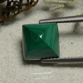 thumb image of 6.6ct Square Sugarloaf Cabochon Multicolor Green Malachite (ID: 494154)