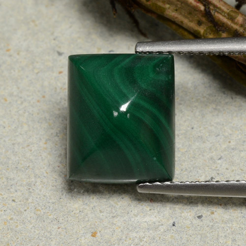 Dark Green Malachite Gem - 7.1ct Baguette Sugarloaf Cabochon (ID: 494161)