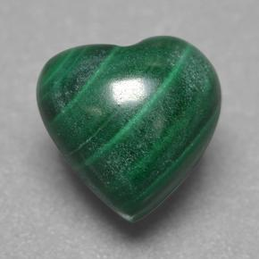 Multicolor Green Malachite Gem - 3.6ct Heart Cabochon (ID: 499640)