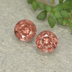 0.6ct Round Facet Pink Orange Malaya Garnet Gem (ID: 495851)