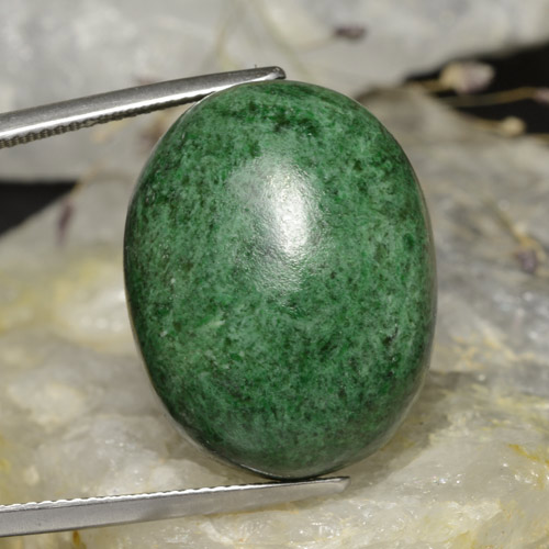 thumb image of 42.1ct Oval Cabochon Green Maw-Sit-Sit (ID: 476798)