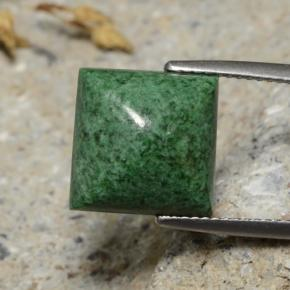 Deep Green Maw-Sit-Sit Gem - 8.6ct Square Sugarloaf Cabochon (ID: 476905)