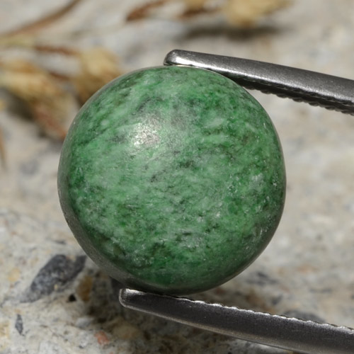 Pale Pine Green Maw-Sit-Sit Gem - 7.7ct Round Cabochon (ID: 476907)