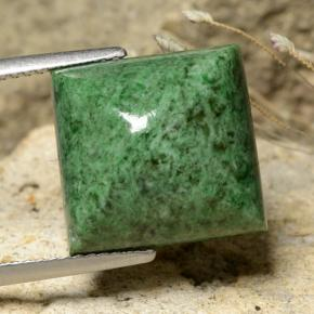 Green Maw-Sit-Sit Gem - 11.9ct Square Sugarloaf Cabochon (ID: 477934)