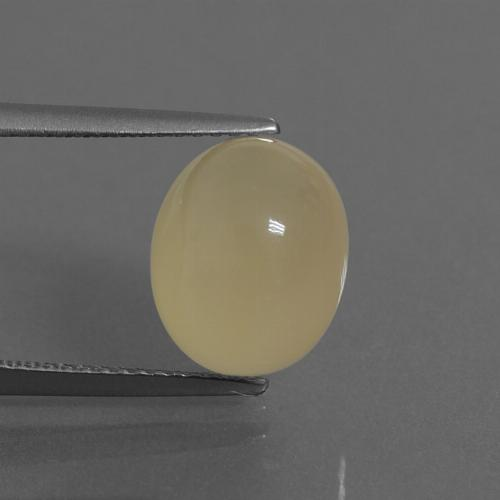 Light Yellow Moonstone Gem - 5.7ct Oval Cabochon (ID: 445886)
