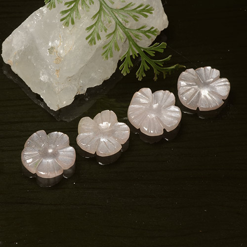 Peach-Pink Moonstone Gem - 1.4ct Carved Flower (ID: 485217)