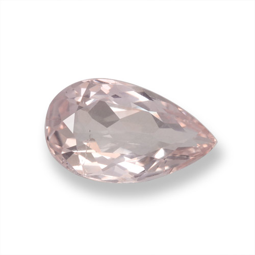 Coral Pink Tone モルガナイト 宝石 - 0.9ct ペアーファセット (ID: 457914)