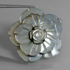 Silver Mother of Pearl Gem - 43.9ct Carved Flower (ID: 407686)