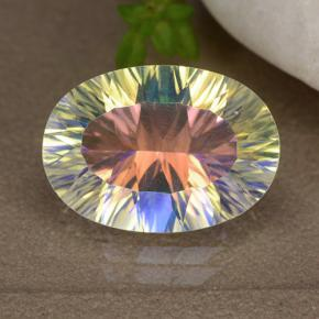 Multicolor Mystic Quartz Gem - 4.9ct Oval Concave Cut (ID: 482604)