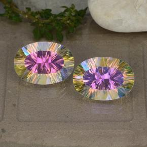 Multicolor Mystic Quartz Gem - 5.1ct Oval Concave Cut (ID: 482609)